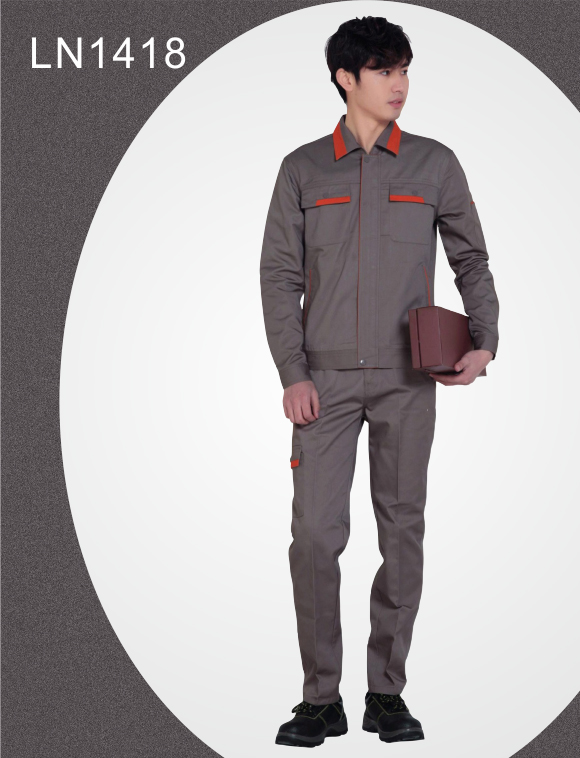 LN1418灰工衣订做工作服定制LOGO